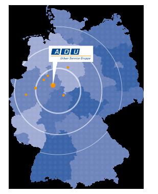 Standorte von ADU-Urban in Deutschland: Bielefeld, Detmold, Dortmund, Gütersloh, Hannover, Kassel, Paderborn Ratingen, Waren