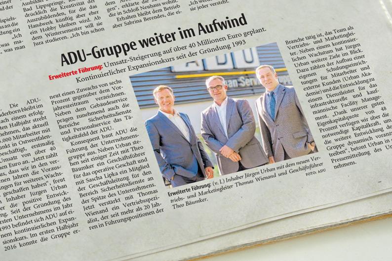 Zeitungsbericht zum kontinuierlicher Expansionskurs der ADU Service Gruppe.